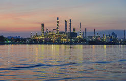 Oil refinery at sunrise Royalty Free Stock Photos