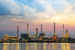 Oil refinery at sunrise Royalty Free Stock Images