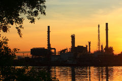 Oil refinery with sunrise, Thailand Stock Image