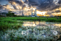 Oil refinery at sunrise Thailand Royalty Free Stock Photos