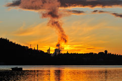 Oil Refinery and sunset Stock Photography