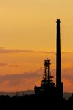 Oil refinery sunset. Karlsruhe's oil refinery in front of a colorful summer sunset Royalty Free Stock Photos