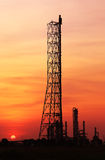 Oil refinery at sunset Royalty Free Stock Photos
