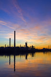 Oil Refinery at sunset Stock Photos