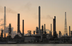 Oil refinery at sunset. In Anwerp port stock image