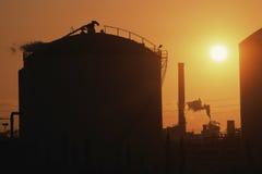 Oil refinery tank royalty free stock photos