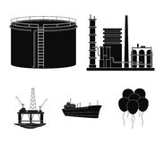 Oil refinery, tank, tanker, tower. Oil set collection icons in black style vector symbol stock illustration web. Royalty Free Stock Photography