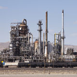 Oil refinery and tanker train Stock Photos