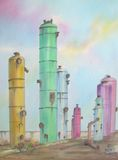 Oil Refinery Tanks. Digitally photographed image of an original watercolor (on 100% cotton & hand made paper), of abandoned oil refinery tanks; painted Royalty Free Stock Image