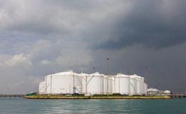 Oil refinery tanks Royalty Free Stock Images