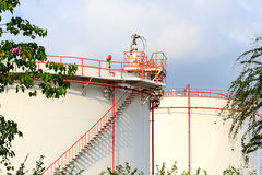 Oil refinery tanks Royalty Free Stock Photography