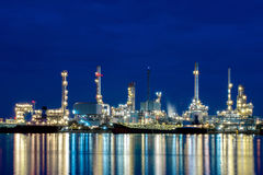 Oil refinery Thailand. Night, sunset, Thailand Stock Photos