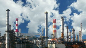 Oil refinery - time lapse Stock Image
