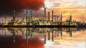 Oil refinery, time lapse. Oil refinery at sunset - time lapse stock video