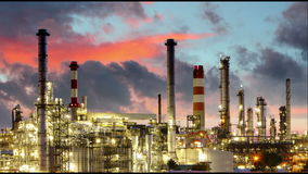Oil refinery, time lapse. Oil refinery at sunset, time lapse stock footage