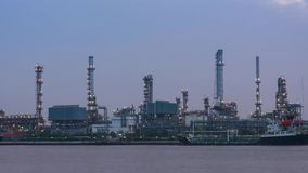 Oil refinery timelapse stock video