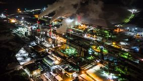 Oil refinery. Top view. Night industrial time lapse. stock video