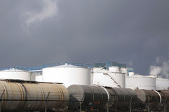 Oil refinery with train wagons Royalty Free Stock Photos