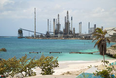 Oil refinery in tropics Royalty Free Stock Image
