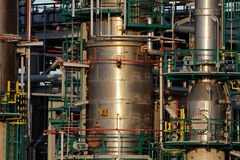Oil refinery tubes and pipes Royalty Free Stock Images