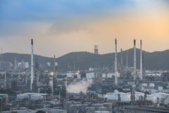 Oil refinery at twilight. 1 2 Royalty Free Stock Image