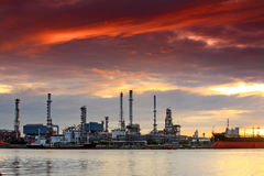 Oil refinery at twilight, Bangkok Thailand Royalty Free Stock Image