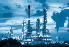 Oil refinery. At twilight with blue color tone Royalty Free Stock Image