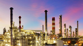 Oil refinery at twilight - factory Royalty Free Stock Image