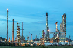Oil refinery at twilight. Stock Photo