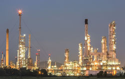 Oil refinery at twilight. Royalty Free Stock Image