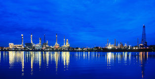 Oil refinery at twilight  at morning Royalty Free Stock Image
