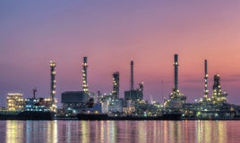 Oil refinery at twilight - petrochemical industry ,Thailand Stock Photography