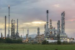 Oil refinery at twilight sky. Oil refinery at twilight with sky background Royalty Free Stock Photography