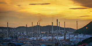 Oil refinery at twilight sky Stock Photos
