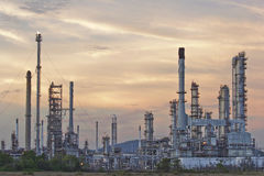 Oil refinery at twilight sky. Royalty Free Stock Photography