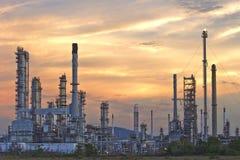 Oil refinery at twilight sky. Stock Photo