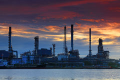 Oil refinery at twilight, Thailand Stock Photos
