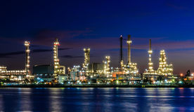 Oil refinery at twilight, Thailand Stock Image