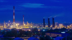 Oil refinery at twilight stock video