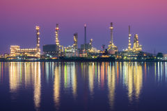 Oil Refinery at twilightBangchak, Thailand. Royalty Free Stock Images