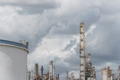 Oil refinery under cloudy sky in Pasadena, Texas, USA. Oil refinery, oil factory, oil tank, petrochemical plant under cloudy sky in Pasadena, Texas, USA Royalty Free Stock Images
