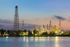 Oil refinery water front sunrise tone Royalty Free Stock Image
