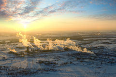 Oil refinery in winter, top view Royalty Free Stock Photo