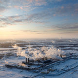 Oil refinery in winter, top view Stock Photos