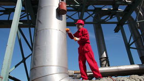 Oil Refinery Worker at Work Stock Photography