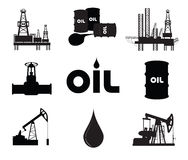Oil research industrial set Stock Photos
