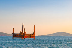 Oil - Research Platform. Horizontal photo of a oil / research platform on the sea Stock Image