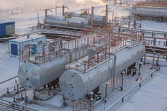 Oil reservoir. In the winter Stock Photography