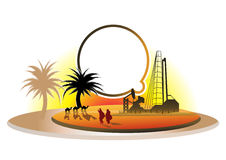 Oil rich desert. An abstract illustration of a tropical desert with palm trees and camels as well as oil wells and oil rigs in the skyline.  Dialogue bubble Stock Images