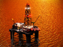 Oil rig. Oil exploration rig in sea Stock Images